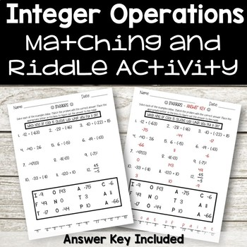 Integers Riddle Activity
