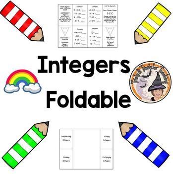 Integers Rules Foldable Adding Subtracting Multiplying Dividing with Answer KEY