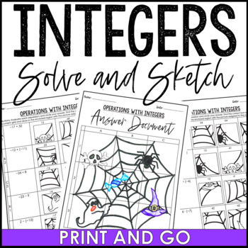 Integers Solve and Sketch Halloween Activity