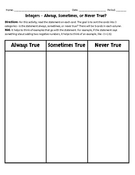 Integers - Sometimes, Always or Never True Activity