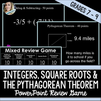 Integer Operations, Square Roots and Pythagorean Theorem Game