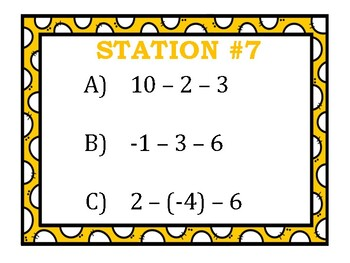 Adding, Subtracting, Multiplying, & Dividing Integers Stations Bundle