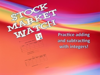 Stock Market Watch - Add and Subtract Integers For Middle School Students