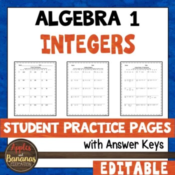 Integers Student Practice Pages