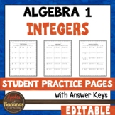 Integers -Editable Student Practice Pages