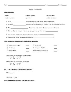 Integers Study Guide
