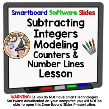 Integers Subtracting Integers Modeling Counters Number Lines Smartboard Lesson
