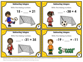 Subtracting Integers Task Cards, Middle School Math, Integer Games