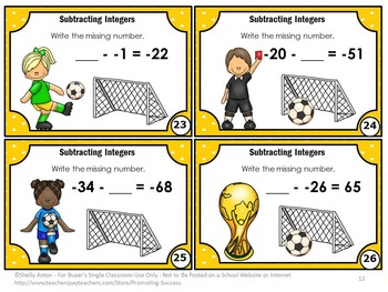 Integer Task Cards, 6th or 7th Grade Math Centers