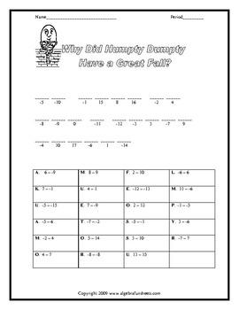 Subtracting Integers Worksheet
