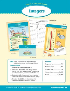 Integers (Take It to Your Seat Centers Common Core Math)
