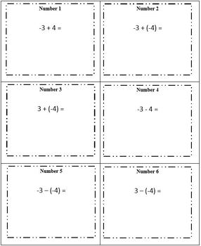 Integers Task Cards (3 sets of 30) All Operations Negatives/Positives