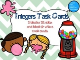 Integers Task Cards:  32 Color and B&W Task Cards