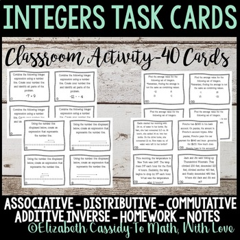 Integers Task Cards-Class activity task cards