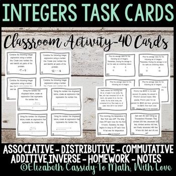 Integers Task Cards-Class activity task cards