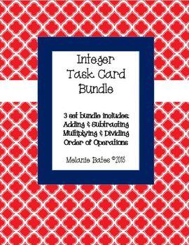 Integers Task Cards Bundle - all operations including orde