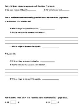 Integers 15 - Integers Test