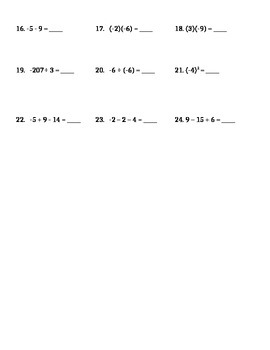 Integers Test and Review