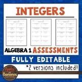 Integers Tests - Algebra 1 Editable Assessments