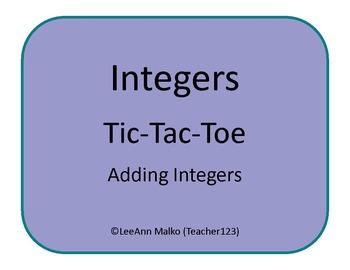 Integers Tic-Tac-Toe - Adding Integers