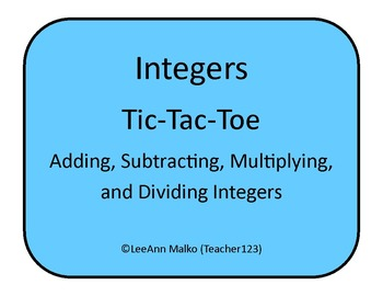 Adding and Subtracting Integers Tic- Tac Toe by Angelic Arithmetic