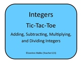 Integers Tic-Tac-Toe - Adding, Subtracting, Multiplying, a