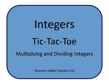 Integers Tic-Tac-Toe - Multiplying and Dividing Integers