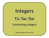Integers Tic-Tac-Toe - Subtracting Integers