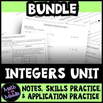 Integers Unit Bundle: Notes, Practice, & Application Practice