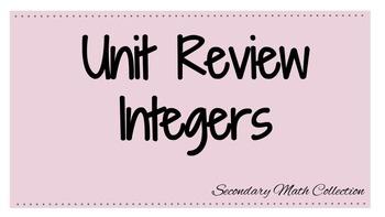 Integers Unit Review Worksheets