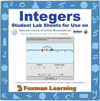 Integers -- Virtual Manipulatives Lab for Middle School Math Common Core