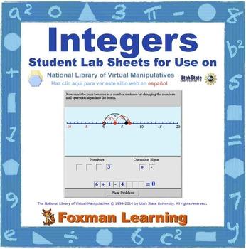Integers -- Virtual Manipulatives Lab for Middle School Ma