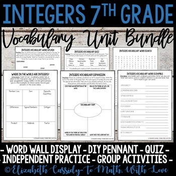 Integers Vocabulary - Vocabulary Activity Bundle - 7th Grade