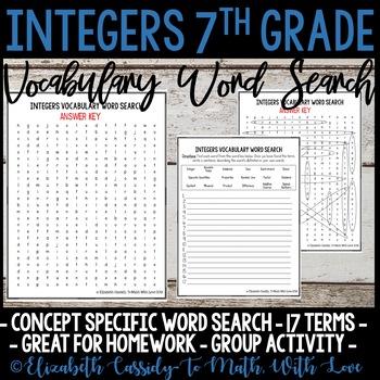 Math Vocabulary Word Search - Integers Unit