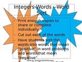 Integers Vocabulary Word Sort