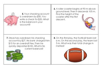 Integers Word Problem Cards