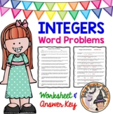 Integers Word Problems Worksheet with Answer KEY Add Subtr