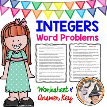Integer Word Problems Worksheet with ANSWER KEY Add Subtra