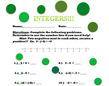 Integers Worksheet With Answer Key