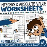 Integers Worksheets & Absolute Value Word Problems + Fun Game   6.NS.5, TEK 6.2C
