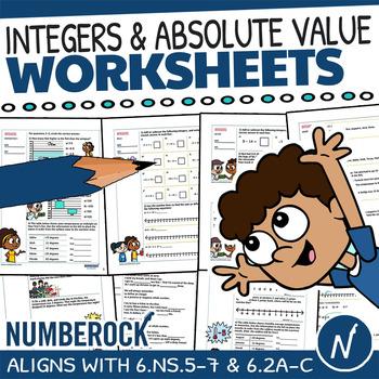 Integers Worksheets & Absolute Value Word Problems + Fun Game | 6.NS.5, TEK 6.2C