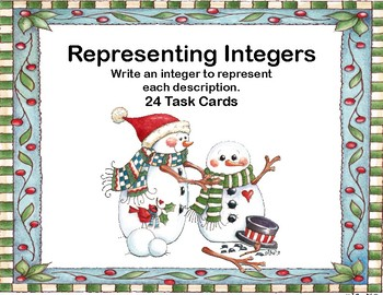 Integers-Writing Integers to Represent a Given Description-24 Task Cards