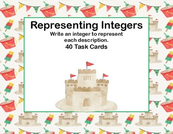 Integers-Writing Integers to Represent a Given Description-40 Task Cards-Beach