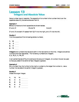 Integers and Absolute Value - 7th Grade Math Mini