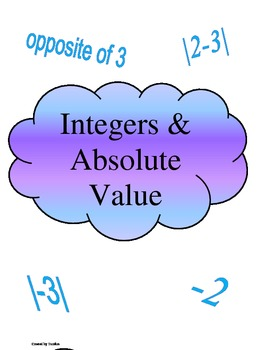 Integers and Absolute Value File Folder Game