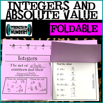 Integers and Absolute Value Foldable Notes for Interactive Notebook