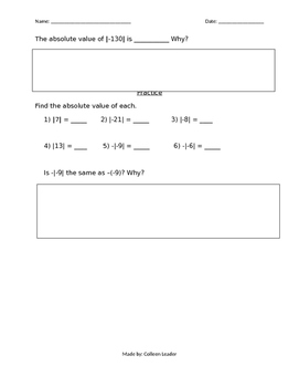 Integers and Absolute Value Guided Lesson