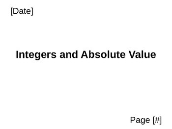 Integers and Absolute Value PowerPoint