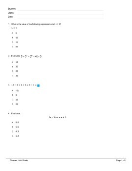 Integers and Algebraic Expressions Test