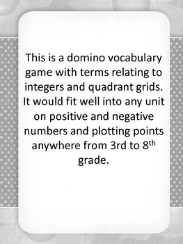 Integers and Coordinate Grid Dominoes